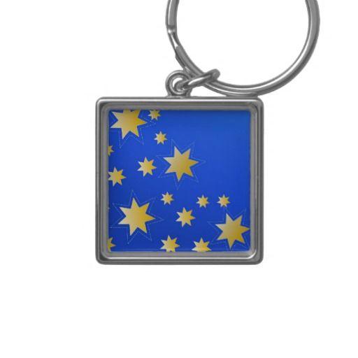 Starry keychain on blue