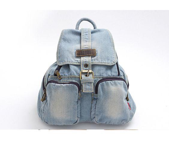 Nueva tendencia de la seora bolso de pantalones vaqueros, animada de ocio mochila del estudiante, moda mochila de tela de mezclilla, freeshipping: