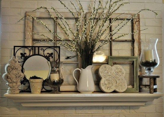 10 fabulous fireplace mantel ideas for summer fireplaces for Mantel display ideas