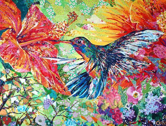 I ❤ art quilts . . . Stunning Hummingbird ~120cm x 90cm ~By Danny Amazonas