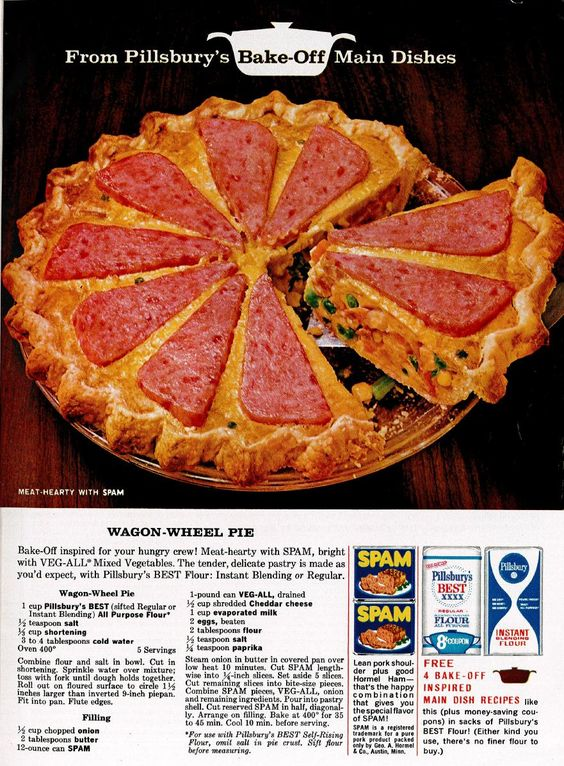 Wagon-Wheel Pie--Spam still promotes this recipe, see http://www.hormelfoodsrecipes.com/recipes/details/245/wagon-wheel-pie.aspx
