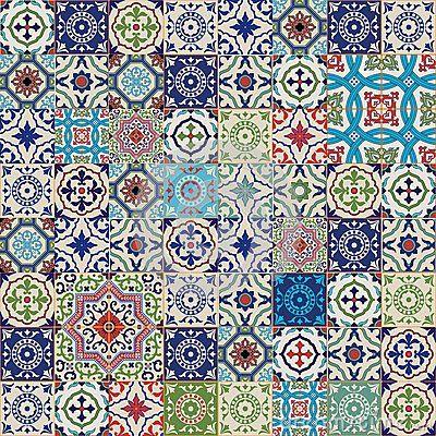 Mega Splendido motivo patchwork senza soluzione di continuità dal colorato marocchino, tegole portoghesi, Azulejo, ornamenti ..