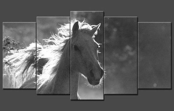 Tableau decoratif polyptyque cheval au galop en noir et blanc tableaux an - Tableaux noir et blanc ...