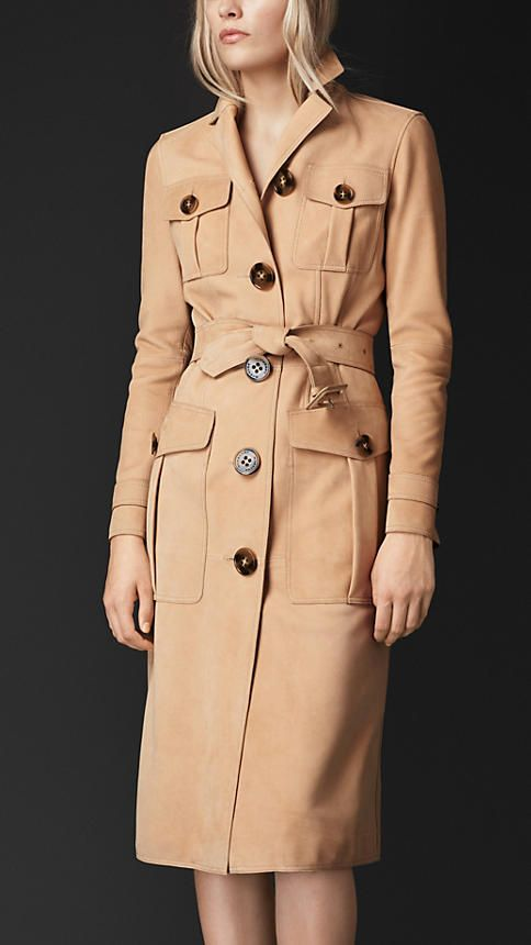 Burberry Prorsum Bonded Nubuck Box-Pleat Pocket Coat - A straight-fit coat in lightweight bonded nubuck. Discover the women's outerwear collection at Burberry.com