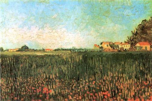 Farmhouses in a Wheat Field Near Arles - Vincent van Gogh, 1888