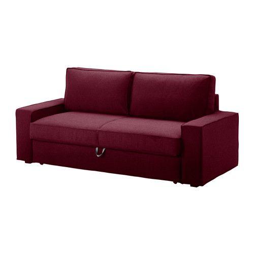 IKEA - VILASUND / MARIEBY, 3er-Bettsofa, Dansbo rotlila, Queen, , Aufbewahrungsmöglichkeit unter der Sitzfläche für Bettzeug o. Ä.Taschenfedern entlasten den Körper und tragen zur ausgeglichenen Lage der Wirbelsäule bei.Lässt sich leicht in ein Bett für zwei verwandeln.Leicht sauber zu halten - der abnehmbare Bezug kann in der Maschine gewaschen werden.Robuster Baumwoll-/Polyesterbezug mit Struktur und weichem Griff.