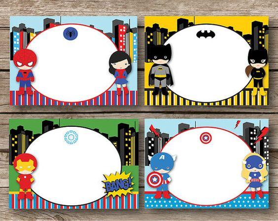 Superhero Supergirl Labels Set of 8 Instant door RedAppleStudio