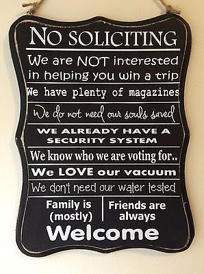 New -Funny, No Soliciting Sign, Front Door, Home privacy. Wood Black & White