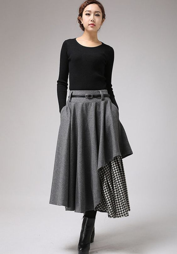 Long Gray Skirt, Tea Length Skirt, Warm Winter Skirt ...