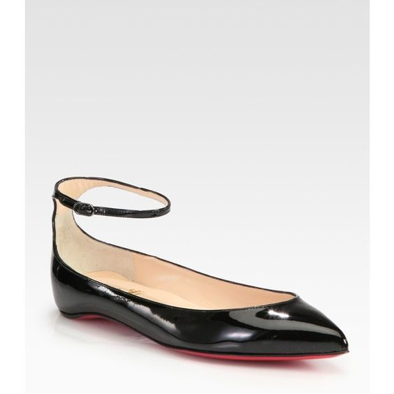 christian louboutin men spikes - christian louboutin patent leather pointed-toe flats w tags ...
