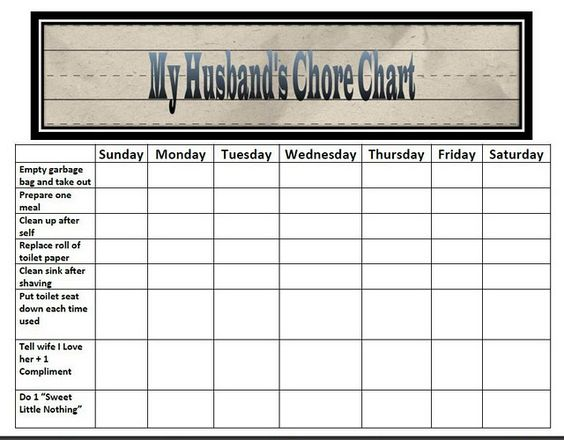 husband chore chart from classifiedmom for the home pinterest toilets desks and clothes. Black Bedroom Furniture Sets. Home Design Ideas
