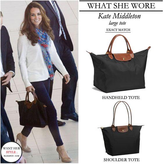WHAT SHE WORE: Kate Middleton with medium size Longchamp Le Pliage ...