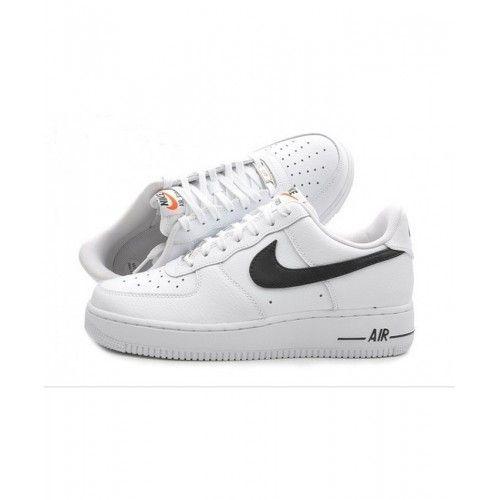 Salg Billig Kvinner Nike Airce 1 Lav Hvit Svart Sko på