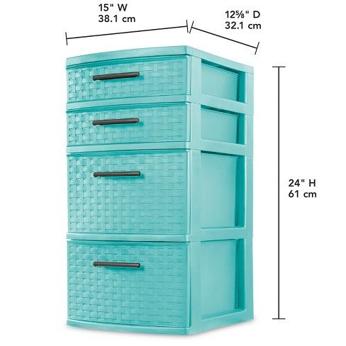 4 Drawer Weave Tower Blue Target Storage Towers Sterilite