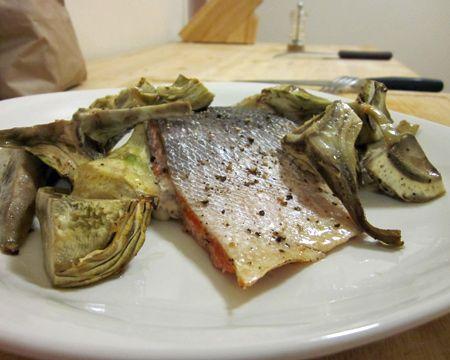 Roasted Salmon and Artichoke Hearts