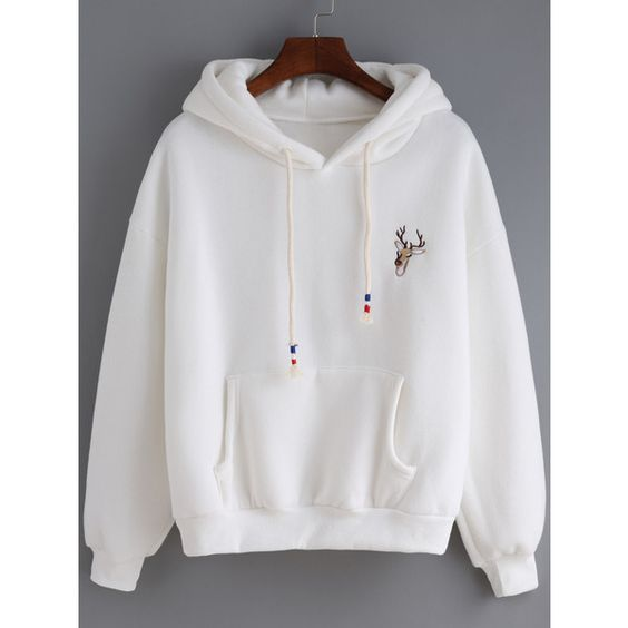 Hooded Drawstring Deer Embroidered White Sweatshirt (343.125 VND) ❤ liked on Polyvore featuring tops, hoodies, sweatshirts, white, cotton hooded sweatshirt, white sweatshirt, cotton hoodie, hooded sweatshirt et pullover hoodie sweatshirt
