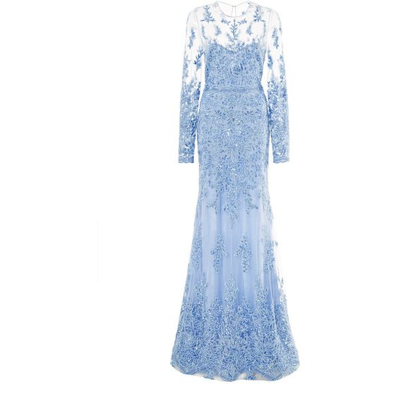Naeem Khan Lace Embroidered Gown featuring polyvore, fashion, clothing, dresses, gowns, gown, long sleeve dresses, blue lace dress, blue evening gown, lace dress and long sleeve evening dresses