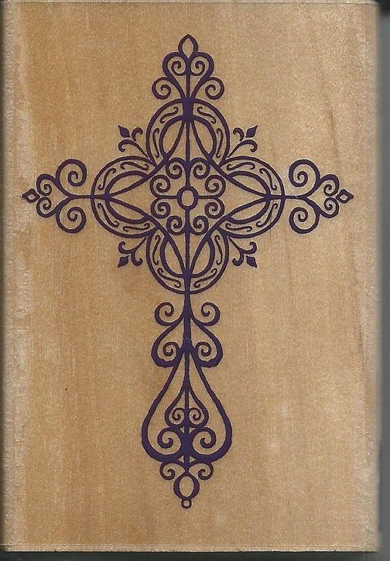 Elegant cross stamp new wood mounted rubber by sagebrush12 for Elegant cross tattoos for women