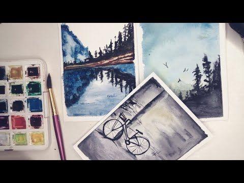Easy Watercolor Painting Ideas For Beginners أفكار سهلة للرسم بالألوان المائية للمبتدئين خطوة بخطوة Youtube Drawings Polaroid Film Film