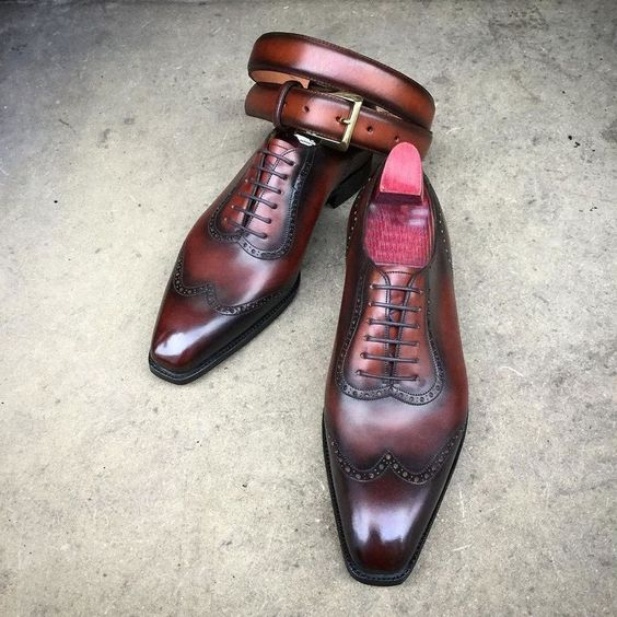 Handmade Brown Oxford Shoes, Wing Tip Formal Leather Dress Shoes, Men Shoes #Handmade #Oxfords #Formal
