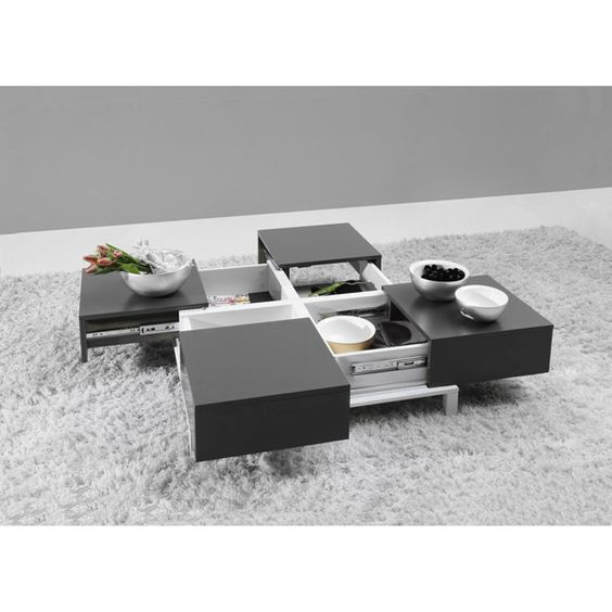 Table basse design avec rangements int gr s deploy - Table de salon avec pouf ...