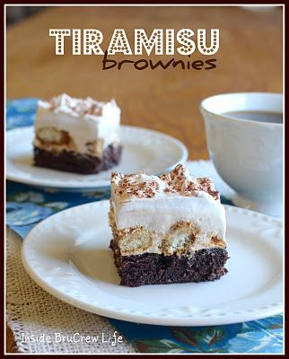 Tiramisu Brownies    brownie mix  1/2 c. milk  4 Tbsp. instant coffee, divided  1 c. sour cream  1 box cheesecake pudding  1 (8 oz.) cream cheese, softened  1 (16 oz.) container of cool whip, divided  2 1/2 c. hard lady finger cookies, broken into chunks*  1/2 c. hot water  cocoa powder  Bake brownies according to the package using the 2 egg directions. Let cool completely.  Dissolve 2 Tbsp. coffee in the milk. Whisk in the pudding mix and set aside. Beat the cream cheese in another bowl…
