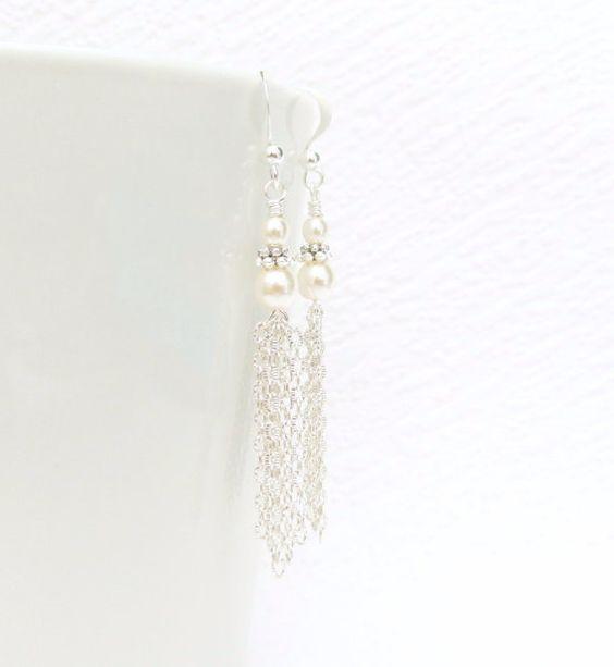 White Pearl Tassel Earring Silver Tassel Earring with by JanJat