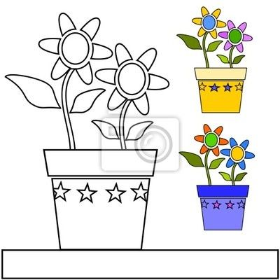 Decalcomanie A Muro vaso di fiori da colorare - hobby • PIXERS.it