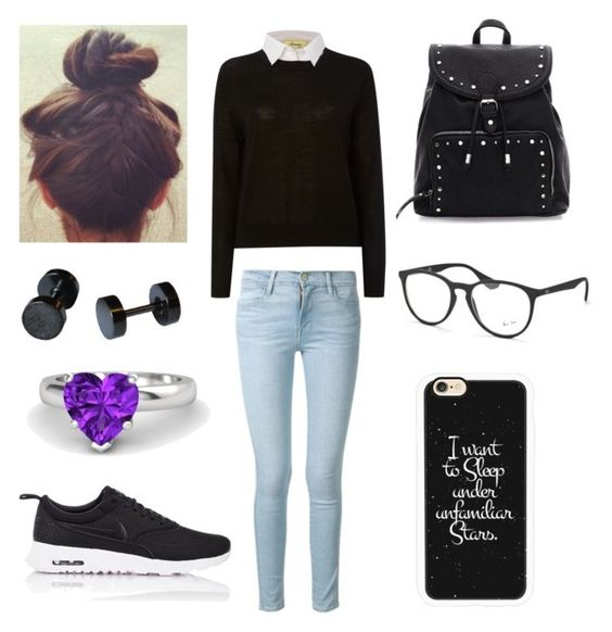 """""""Maia 7"""" by bmsstuff on Polyvore featuring Linea, Frame Denim, Ray-Ban, Gemvara, Casetify and NIKE"""