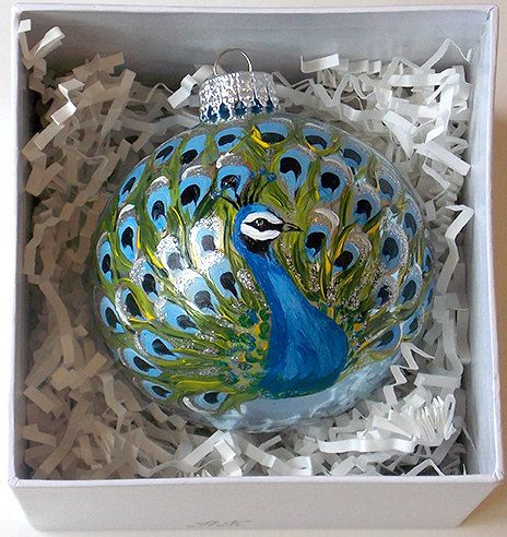 Hand painted christmas ornament glass ball peacock bird for Painted glass ornaments crafts