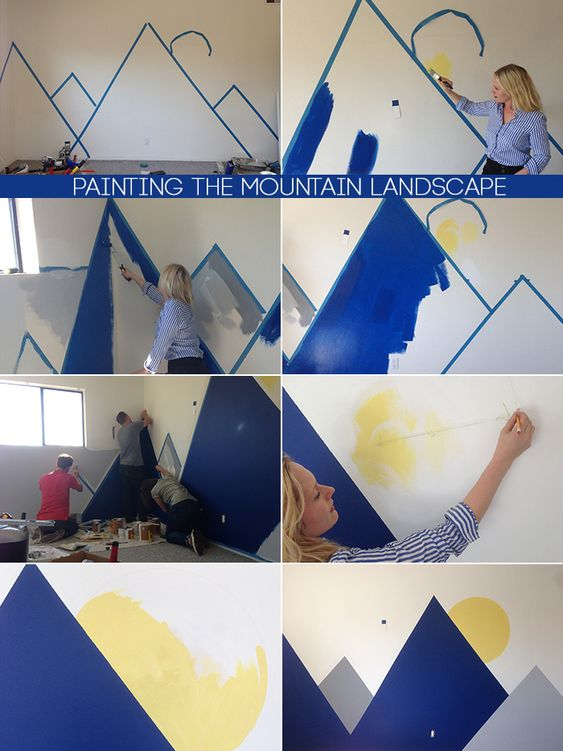 Oh joy nursery office makeover the mountain wall mural for Diy mountain mural