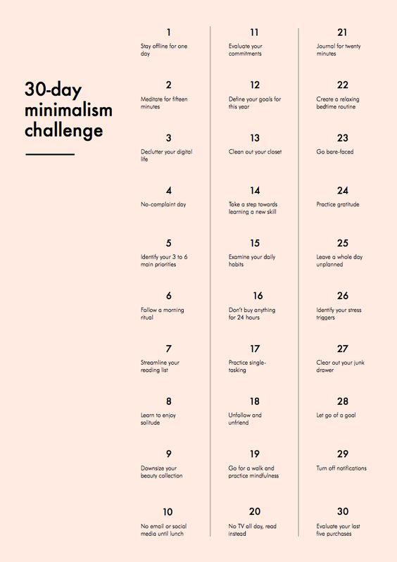 Défi minimaliste en 30 jours:
