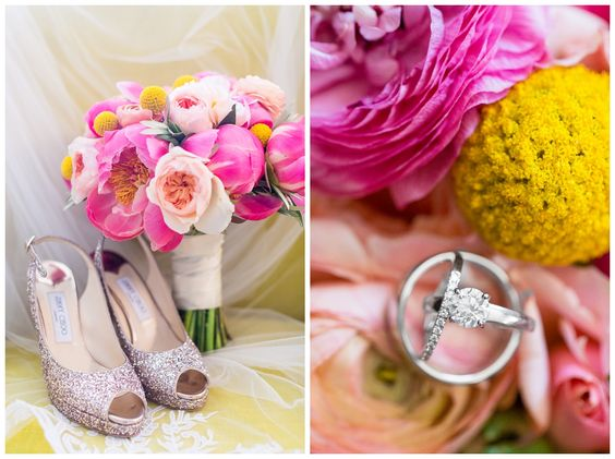 Pink peony bridal bouquet jimmy choo glitter heels ring detail shot | Casa Real at Ruby Hill Winery Wedding - Pleasanton Wedding Photographer - Zi&Jasmine - Chico California Wedding Photography and Videography by Chico Photographer Videographer Couple TréCreative