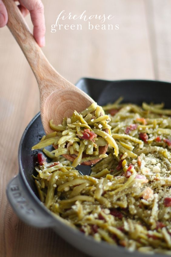 Firehouse green beans recipe thanksgiving sides bacon for Easy thanksgiving green bean recipes