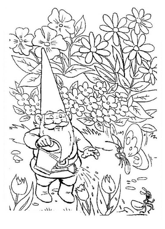 david the gnome, : David the Gnome Watering His Garden Coloring Pages