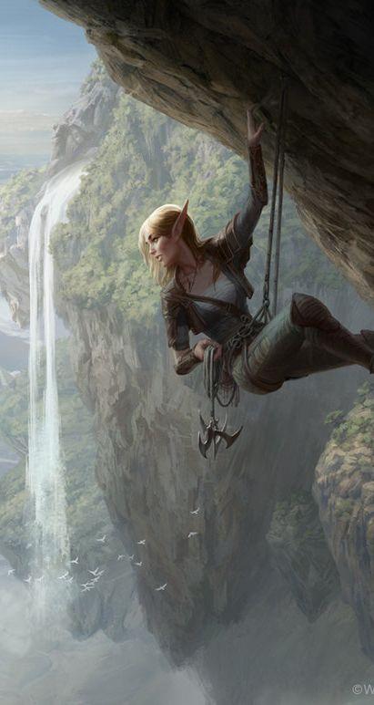 Elven female mountain climbing. MtG Seek the Wilds by depingo on DeviantArt (detail)