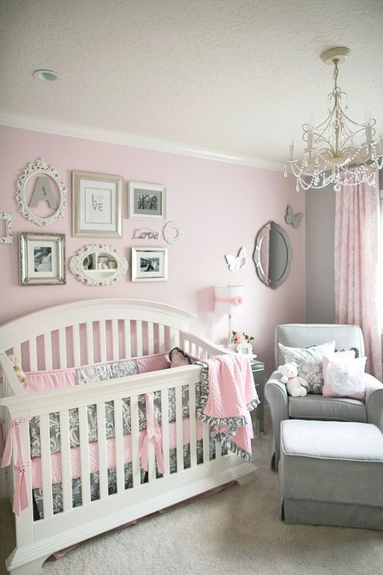 Lots of inspiration from this room (see the Mia chandlier). Love the light pink and light grey (will have pink behind crib and grey everywhere else) Pink and Grey Nursery   Gray and Pink Nursery - April 2013 Birth Club - Page 2 - BabyCenter - love the colors (maybe lighter grey) and vintage mirrors!: