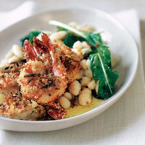 10 Superfast Weeknight Meals from Real Simple Magazine, includes this Crispy Breaded Shrimp with Garlicky Beans