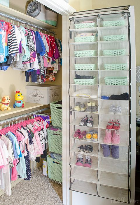 Add Storage To A Baby S Closet With An Inexpensive Shoe Organizer Click For More Closet Ideas That Will G Toddler Closet Baby Closet Organization Baby Storage
