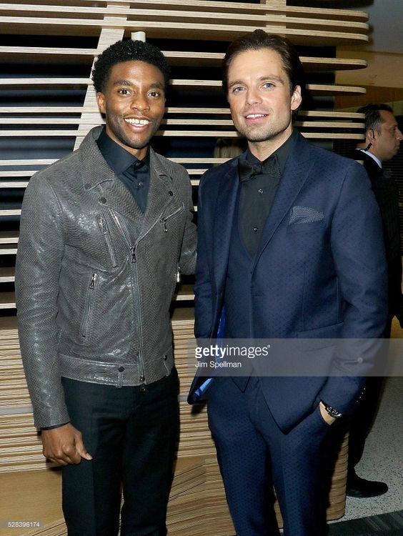 Actors Chadwick Boseman and Sebastian Stan attend the screening after party of…