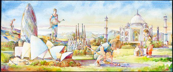 30 St Mary Axe (UK), Sydney Opera (Australia), La Sagrada Familia (Spain), and the Taj Mahal (India) are depicted on this mural inside the Museum's #MiniGolf course. Artwork by Vladimir Zabavskiy. http://go.nbm.org/mini-golf