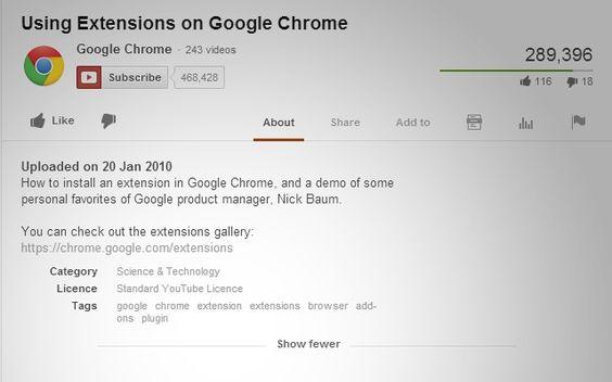 """Gerade im Zuge eines Social-Media-Projekts für einen Kunden entdeckt: Für Google Chrome gibt es eine Extension namens """"Show Tags for YouTube™"""". Damit kann man die Verschlagwortung, die YouTube seit 2012 bei den Videos nicht mehr anzeigt, wieder sichtbar machen, ohne sich im Seitenquelltext einen Wolf zu suchen. Sehr hilfreich!"""