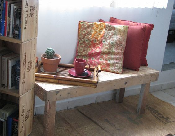 Combest Paint For Home Interior : Cosy nook created with a diy bench made of scrap wood, bookcase mad...