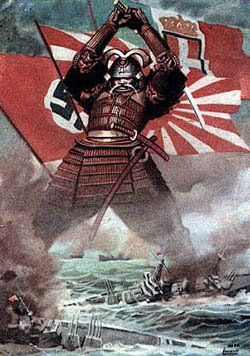 Japanese Propaganda: This poster depicts a Japanese warrior destroying American ships. The flags behind the warrior represent the nations who Japan was allied with.