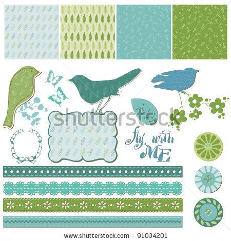 Floral Scrapbook Design Elements with Birds in vector by Woodhouse, via Shutterstock
