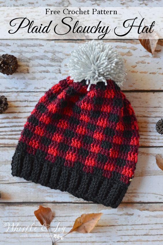 Women Crochet Plaid Slouchy Hat | Nieve, Buffalo plaid y Patrones