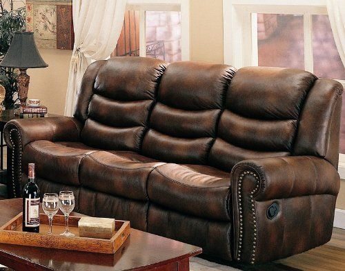 Reclining Sofa With Nail Head Trim In Brown Leather Like