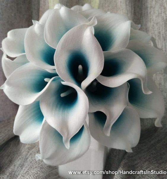 Calla Lily Bouquet Flowers 10 Stems Oasis Teal Picasso Calla Lilies Real Touch Bridal Bouquet Faux Flowers For Wedding Centerpieces