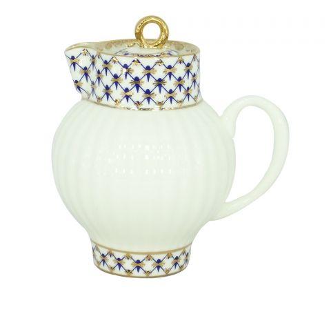 Lomonosov Porcelain Bone China Creamer Wave Cobalt Net 9 fl.oz /270 ml