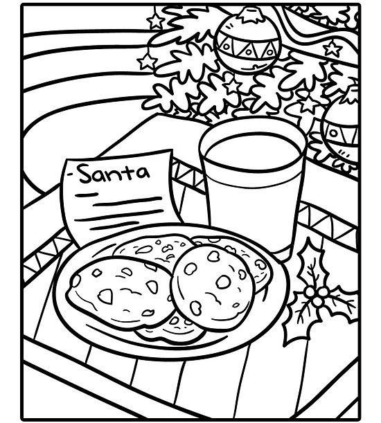 Santa Claus And The Kids Baking Christmas Cookies Coloring Pages